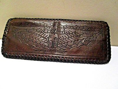 Vintage Hand Tooled Leather SPREAD EAGLE Wallet Bifold NWO Tags BROWN