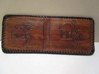 Vintage Hand Tooled Leather COWBOYS Wallet Bifold NWO Tags BROWN