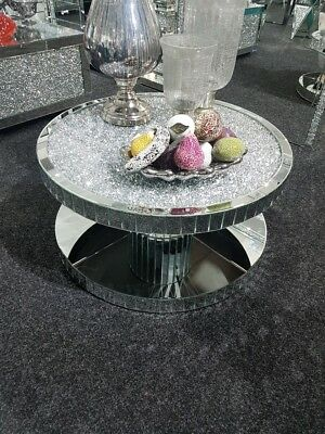 Crushed Diamond Mirrored Sparkle Glitz Round Coffee Table