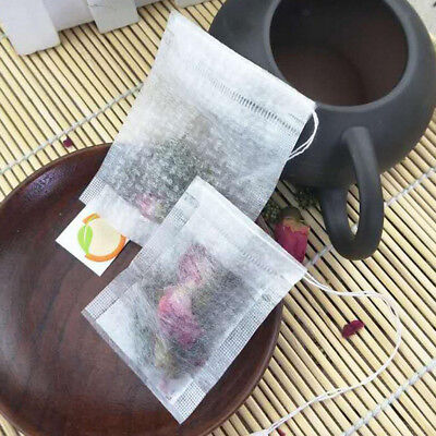 100x Disposable Filter Empty Teabags Herb Loose Tea Bag - Folding/Drawstring
