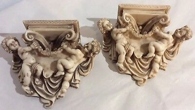 "Vintage Pair Of Mini Alabaster Corbels With Cherubs 6.5""X5.75""X 2.5"" Very Nice."
