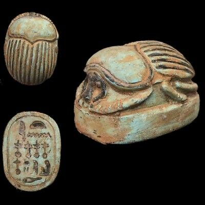 Very Rare Ancient Egyptian Huge Scarab Beetle Top Quality 300 B.c.