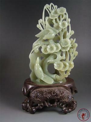 Large Old Chinese Celadon Nephrite Jade Carved Statue MAGPIE ON PLUM BLOSSOM