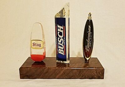 Solid walnut 3 beer tap handle display stand, high gloss, 3 handles NOT included