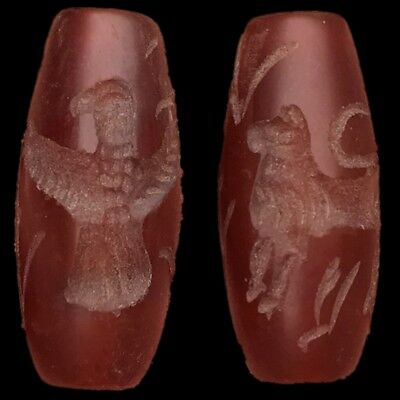 Rare Ancient Carnelian Cylinder Bead Seal 300Bc Perfect Condition! (1)