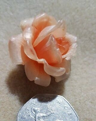 Vintage Art Deco c1930's coral celluloid,  lucite rose flower head brooch pin