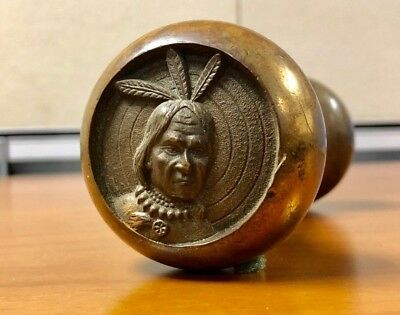 """RARE Collectible Antique Brass Door Knob Set """"Three Feathered Indian"""" Fraternal"""