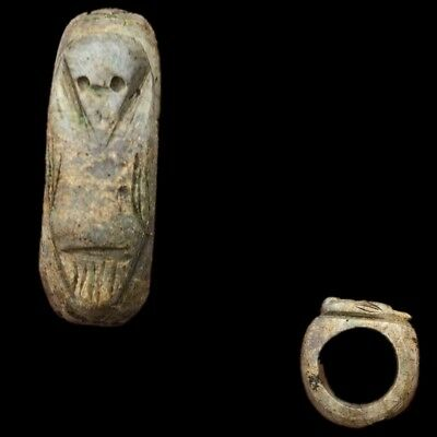 Beautiful Rare Ancient Egyptian Ring With Shabti To Top 300 Bc (2)