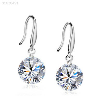 FF94 423D 1Pair 925 Sterling Silver Chic Crystal 8mm Earrings Lady Fashion Gift