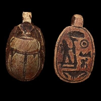 Beautiful Ancient Egyptian Glazed Scarab Bead Pendant 664 - 332 Bc (2)