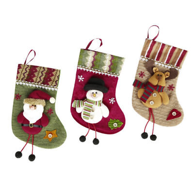 3x Christmas Stocking Bag Snowman Santa Claus and Reindeer Pattern Socks