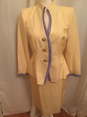 Vintage lilli ann suit Yellow Silk Skirt And Jacket