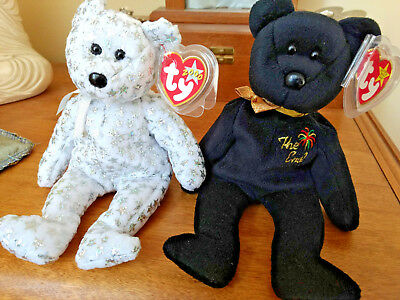Ty Beanie Babies  bears The End The Beginning  millenium MWMT lot of 2 New Years