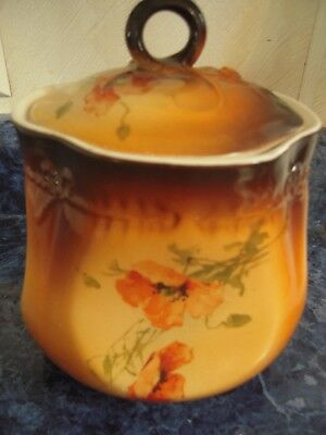 Antique Jar With Lid Porcelain Hand Painted Poppies Warwick China Brown/Orange