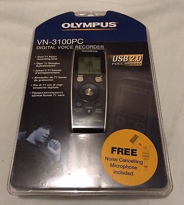 Olympus VN-3100PC Digital Voice Recorder Noise Cancelling Microphone Dictaphone