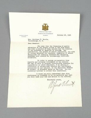 Signed Autographed TLS Presidential Candidate NY Governor Alfred E. Smith Letter