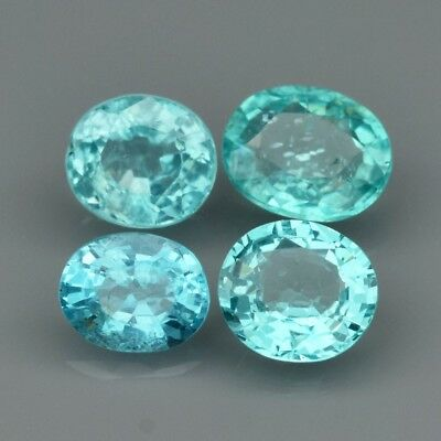 4pcs Lot 2.53ct t.w Oval Natural Unheated Paraiba-Color Neon Blue Green Apatite