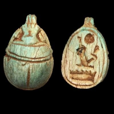 Beautiful Ancient Egyptian Glazed Scarab Bead Pendant 664 - 332 Bc (3)