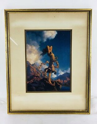 "Vintage Art Print Maxfield Parrish 'Ecstasy' 18"" X 14 1/4"" Framed Matted"