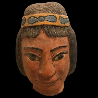 Very Rare Egyptian Female Stone Bust, Late Period 664 - 332 Bc (5) 13Cm Tall.