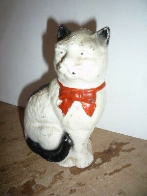Antique Cast Iron Bank Old Metal Painted Cat Screw Back Kitten Red Bow