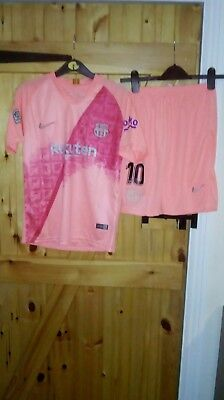 Barcelona Pink 3Rd Football Kit By Nike Size L/boys -  2018/19 - Bnwt - Messi