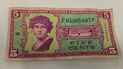 USA Military Payment Certificate 541 Series 5 Cents F