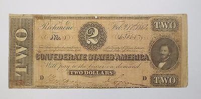 BARGAIN US Confederate Currency Dated February 17th,1864 $2 VERY FINE T-70