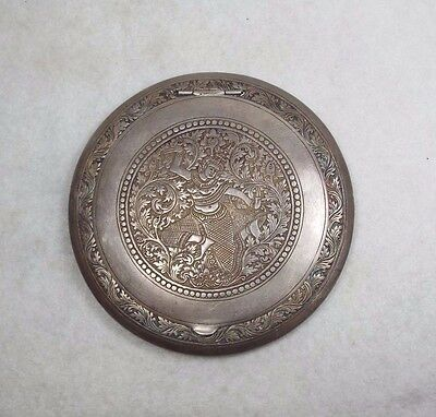 Burmese ~ Thai 900 Silver Large Size & Heavily Detailed Compact w/ mirror