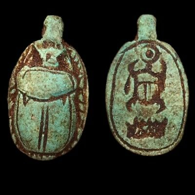 Beautiful Ancient Egyptian Glazed Scarab Bead Pendant 664 - 332 Bc (4)