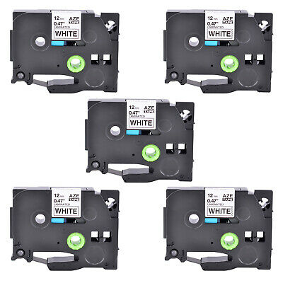 5PK TZ231 Black on White Label Tape Laminated for Brother P-Touch PT-H110 1/2""