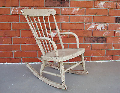 19th Century Old Painted Child's Windsor Armed Rocking Chair - Very Decorative