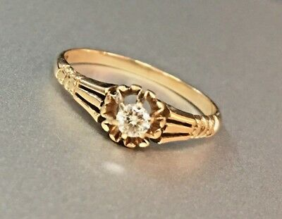 Antique Victorian Diamond Solitaire Ring Vintage 14k Solid Gold Estate Jewelry