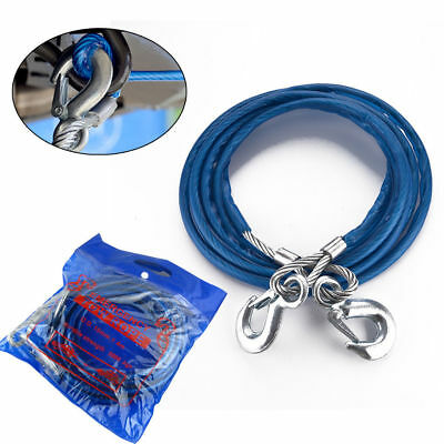 5 TON 4M Tow Recovery Hook Car Rope Wire Van Metal Truck Tough Pull Heavy Duty
