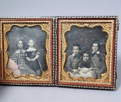 Antique 19c Cased 6th Plate Double Daguerreotype Photo 2 Sisters & 3 Brothers