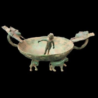 Rare Ancient Roman Huge Sized Bronze Bowl With Statue To Center 200-400 Ad