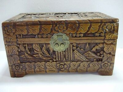 Vintage Antique Oriental Hand Carved Wooden Camphor Box High Relief