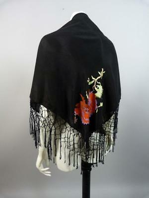 Vintage 1930s embroidered piano shawl with long tassels - lovely condition