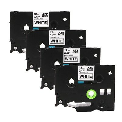 """4PK TZ TZe 231 Black on White Label Tape for Brother P-Touch PT-D210 H100 1/2"""""""