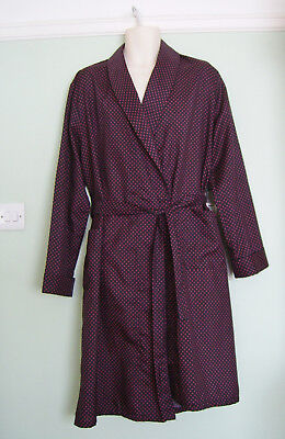 Tootal Vintage 70's Polkadot Dressing Gown / Smoking Jacket/robe Sz L 60's/50's