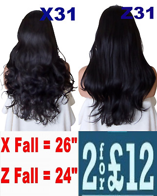 "24 OR 26"" NATURAL BLACK #1B Natural Long Curly OR Flick Layered Half Wig"
