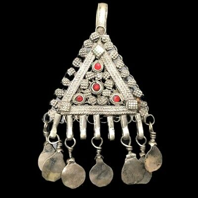 Rare Ancient Silver Bedouin Amuletic Pendant With Red Stones 200-400Ad (9)