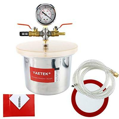 Small Mini 3 Quart Vacuum Chamber Stainless Steel w/quality Metal Fittings NEW