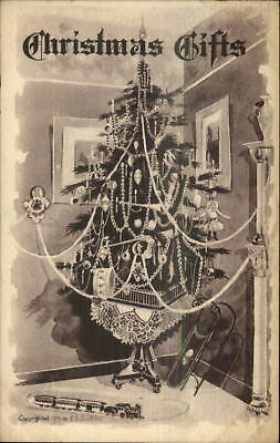 Christmas - Decorated Tree & Toys Gifts c1915 Postcard