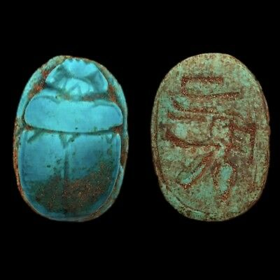 Very Rare Ancient Egyptian Huge Blue Glazed Scarab Beetle Top Quality 300 B.c.