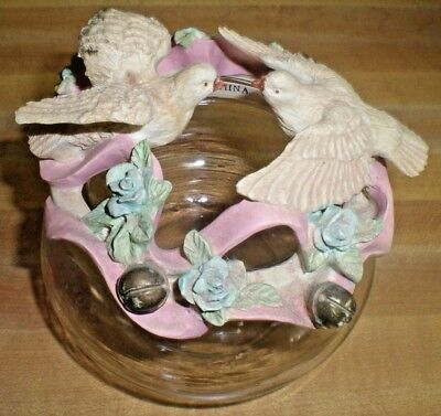 Glass Rose bowl jar With Ceramic top Birds and flowers