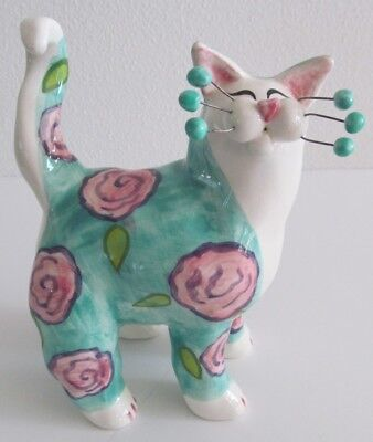 Amy Lacombe WhimsiClay Cat Figurine Flora 2001 Green and White with Pink Flowers