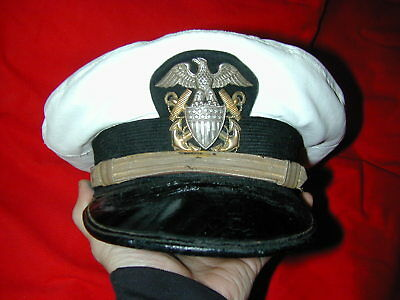 WWII USN US Navy officer visor cap hat w Sterling GF Viking badge crusher