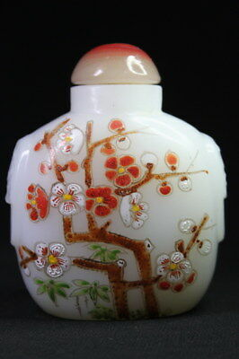 Collection Chinese Agate Painting Plum Blossom Full Bloom Delicate Snuff Bottles