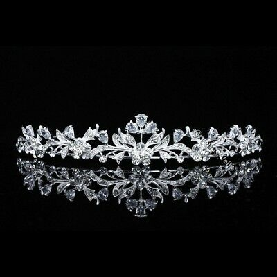 Bridal Floral Rhinestones CZ Crystal Prom Wedding Crown Tiara 8703